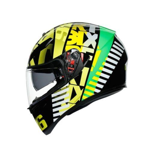AGV K3SV Top MPLK Tribe 46 Gloss Black Yellow Full Face Helmet 4