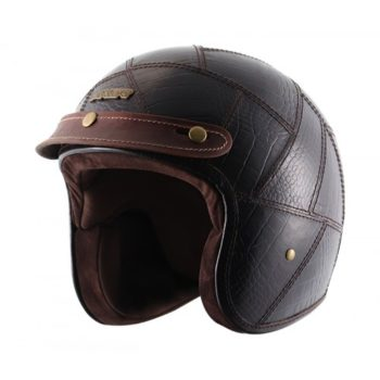 AXOR JET Animal Leather Gloss Coffee Brown Open Face Helmet