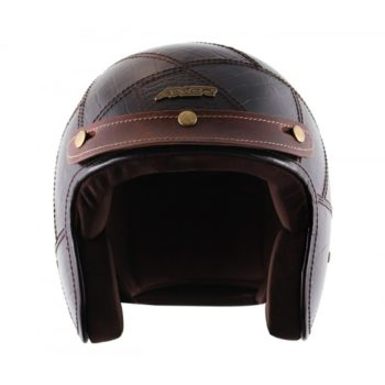 AXOR JET Animal Leather Gloss Coffee Brown Open Face Helmet 4