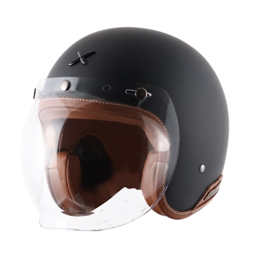 AXOR JET Leather Gloss Dull Slate Open Face Helmet