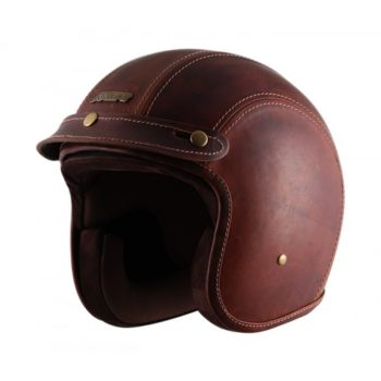 AXOR JET Leather Oil Gloss Beige Brown Open Face Helmet