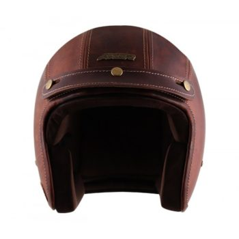 AXOR JET Leather Oil Gloss Beige Brown Open Face Helmet 4