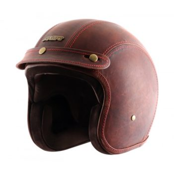 AXOR JET Leather Oil Gloss Brown Open Face Helmet