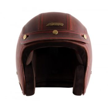 AXOR JET Leather Oil Gloss Brown Open Face Helmet 4