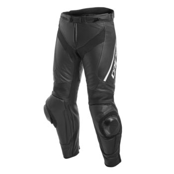 Dainese Delta 3 ST Leather Black White Riding Pants 1