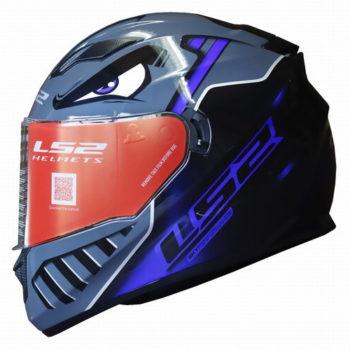 LS2 FF320 Badas Gloss Black Blue Full Face Helmet