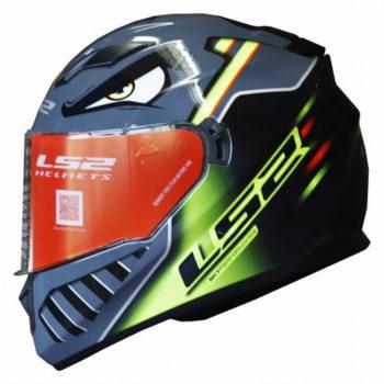 LS2 FF320 Badas Gloss Black Fluorescent Yellow Full Face Helmet