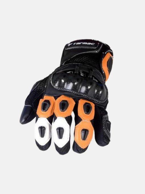 Tarmac Vento II Black White Orange Riding Gloves 3