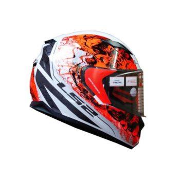 FF320 Stream Evo Throne Gloss White Orange Helmet 2