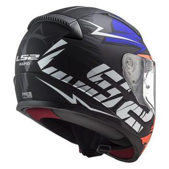 LS2 FF353 Rapid Cromo Gloss Black Fluorescent Blue Full Face Helmet 2