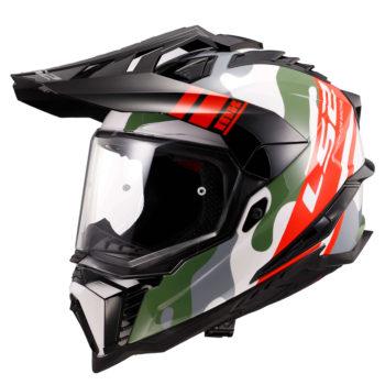 LS2 MX701 Explore HPFC Camox Matt White Red Camo Motocross Helmet