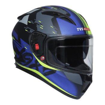 TVS Racing Matt Black Blue Full Face Helmet