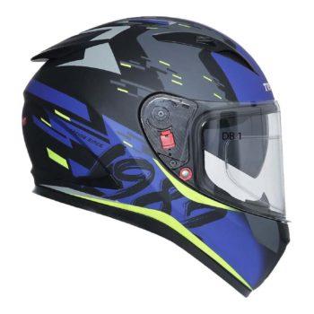 TVS Racing Matt Black Blue Full Face Helmet 5