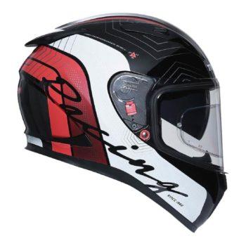 TVS Racing Matt Black Red Full Face Helmet 4