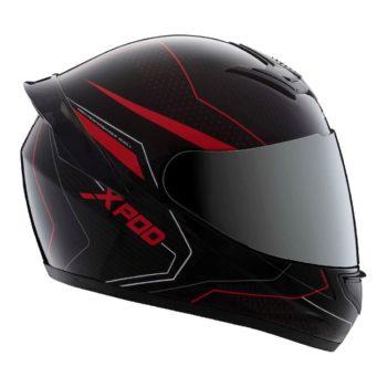 TVS Racing XPOD Blistering Black Red Full Face Helmet