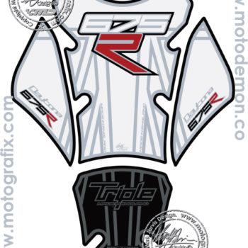 Motografix Black White Tank Pad Triumph Daytona Street Triple 675 2012 13