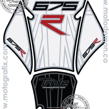 Motografix White Black Tank Pad Triumph Daytona Street Triple 675 2012 13