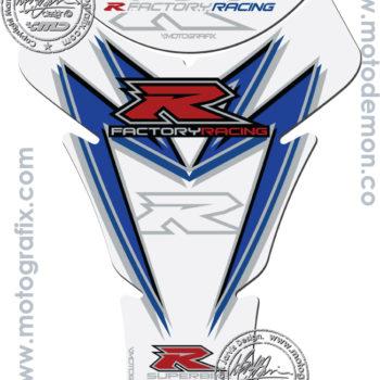 Motografix White Blue Tank Pad for Suzuki GSXR series