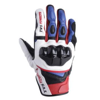 TVS Racing Race Black White Riding Gloves 2