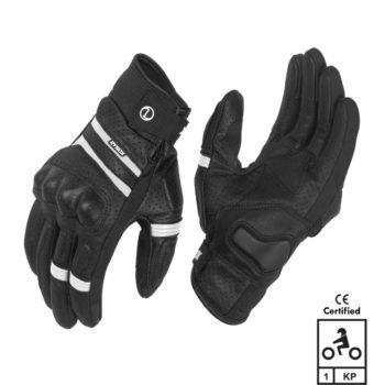 Rynox Air GT Motorsports Black White Riding Gloves